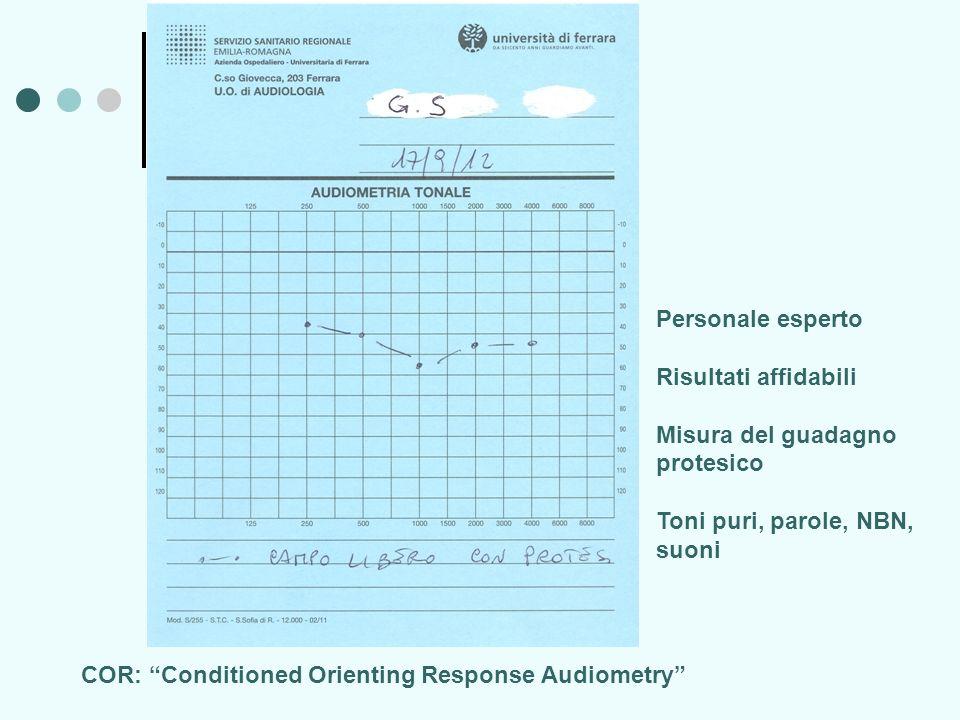 COR: Conditioned Orienting Response Audiometry Personale esperto Risultati affidabili Misura del guadagno protesico Toni puri, parole, NBN, suoni