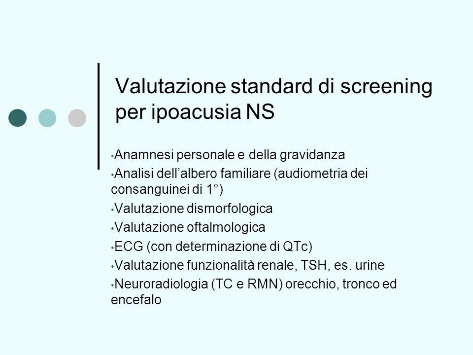 Valutazione standard di screening per ipoacusia NS Anamnesi personale e della gravidanza Analisi dellalbero familiare (audiometria dei consanguinei di