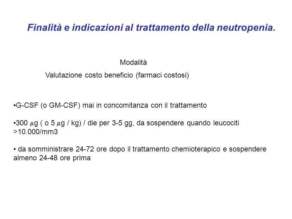 G-CSF (o GM-CSF) mai in concomitanza con il trattamento 300 g ( o 5 g / kg) / die per 3-5 gg, da sospendere quando leucociti >10.000/mm3 da somministr