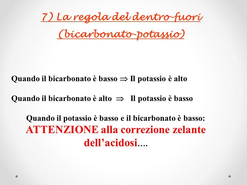 7) La regola del dentro-fuori (bicarbonato-potassio) Quando il bicarbonato è basso Il potassio è alto Quando il bicarbonato è alto Il potassio è basso