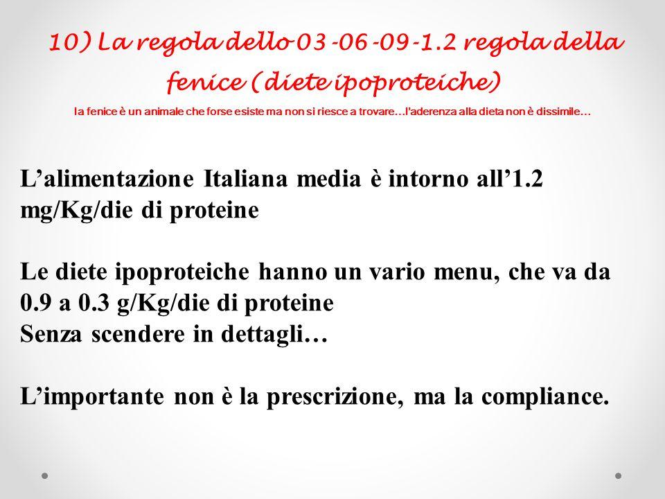 10) La regola dello 03-06-09-1.2 regola della fenice (diete ipoproteiche) la fenice è un animale che forse esiste ma non si riesce a trovare…laderenza