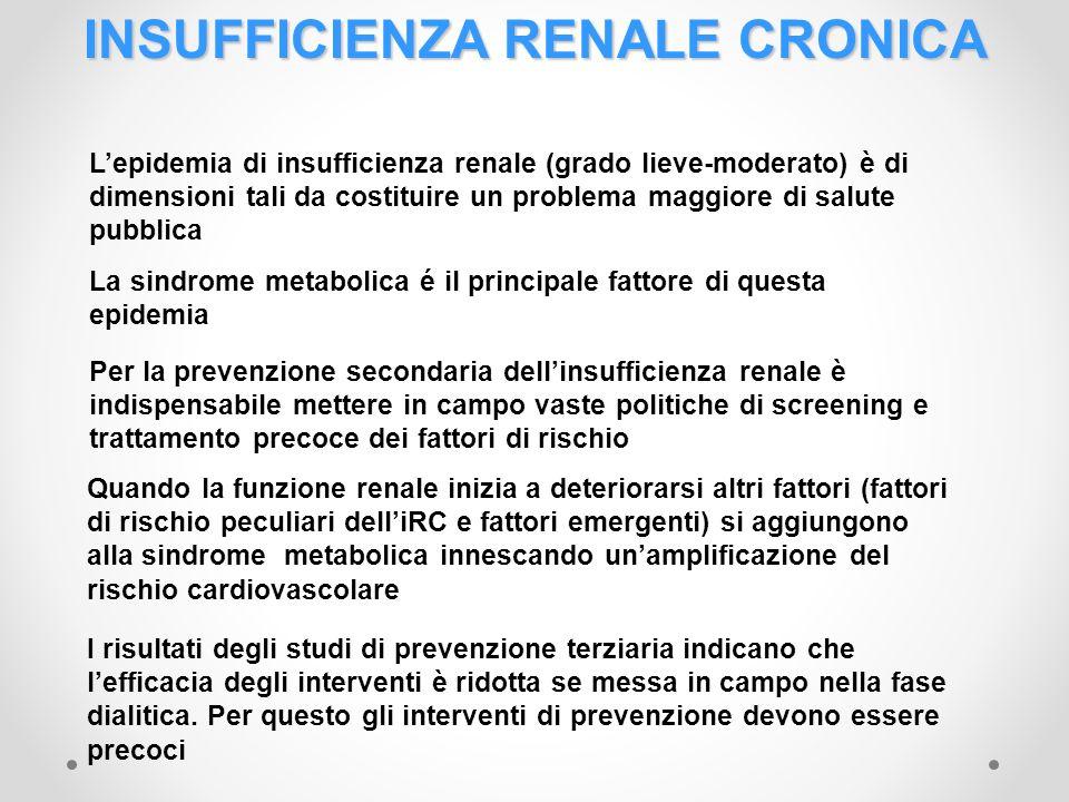 INSUFFICIENZA RENALE CRONICA Lepidemia di insufficienza renale (grado lieve-moderato) è di dimensioni tali da costituire un problema maggiore di salut