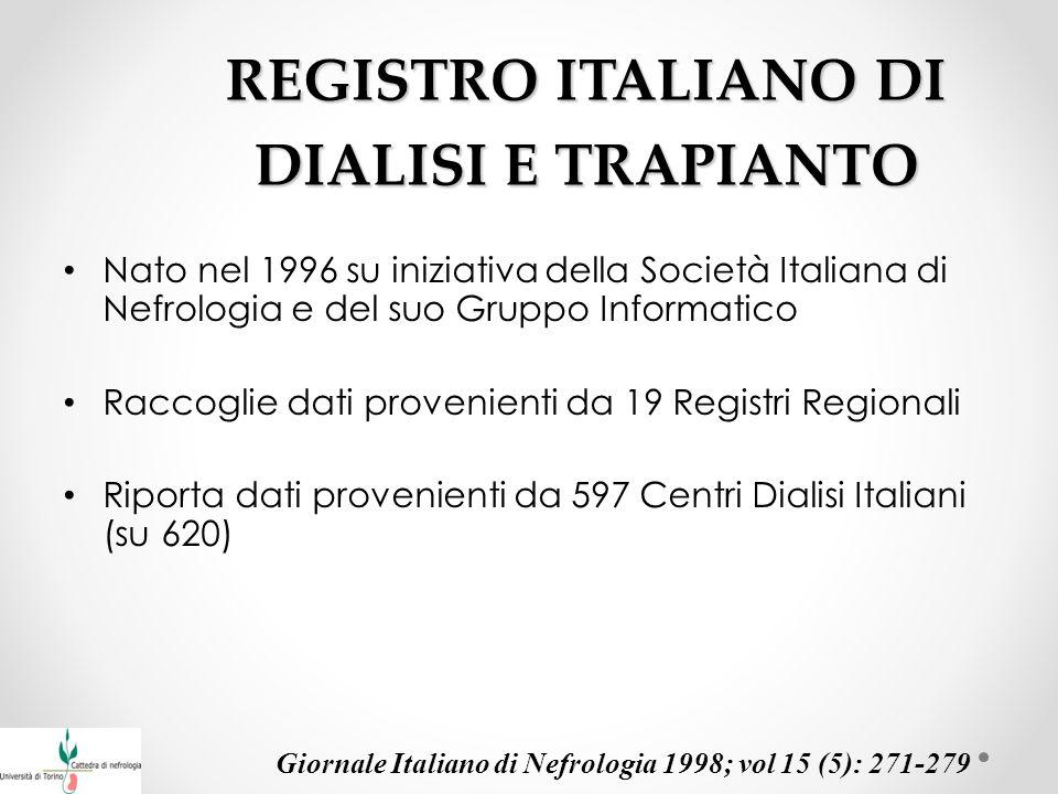 REGISTRO ITALIANO DI DIALISI E TRAPIANTO Nato nel 1996 su iniziativa della Società Italiana di Nefrologia e del suo Gruppo Informatico Raccoglie dati