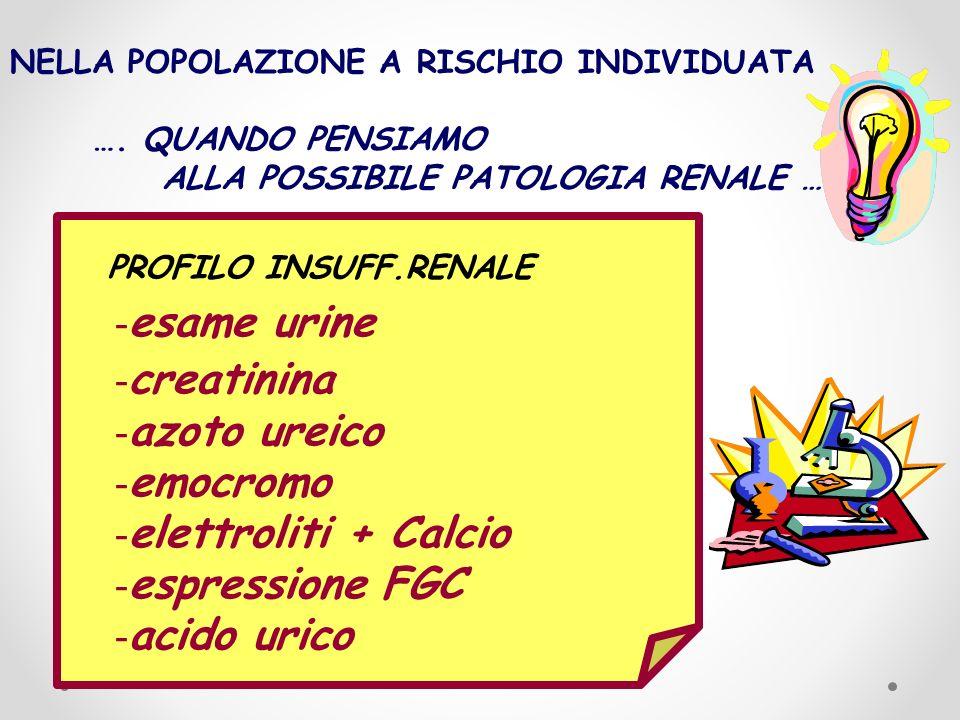 PROFILO INSUFF.RENALE - esame urine - creatinina - azoto ureico - emocromo - elettroliti + Calcio - espressione FGC - acido urico NELLA POPOLAZIONE A