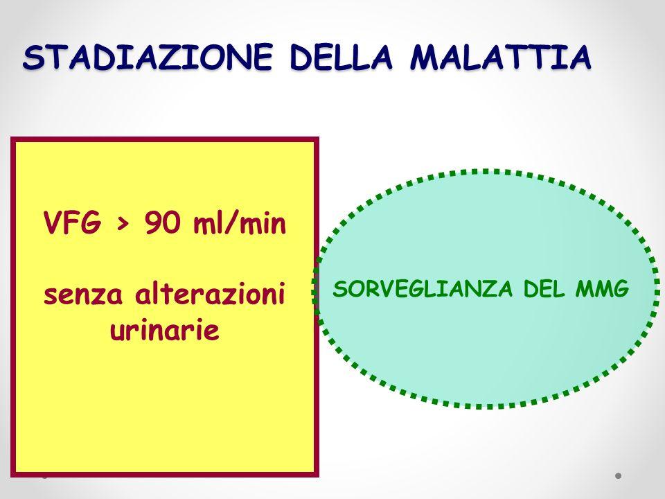 STADIAZIONE DELLA MALATTIA VFG > 90 ml/min senza alterazioni urinarie SORVEGLIANZA DEL MMG