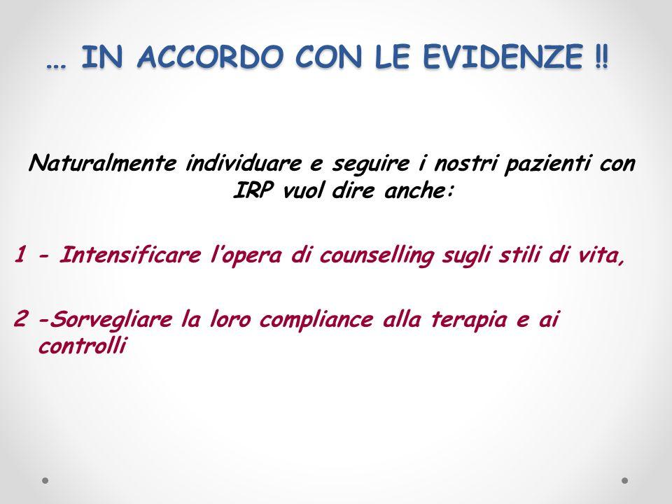 … IN ACCORDO CON LE EVIDENZE !! Naturalmente individuare e seguire i nostri pazienti con IRP vuol dire anche: 1 - Intensificare lopera di counselling