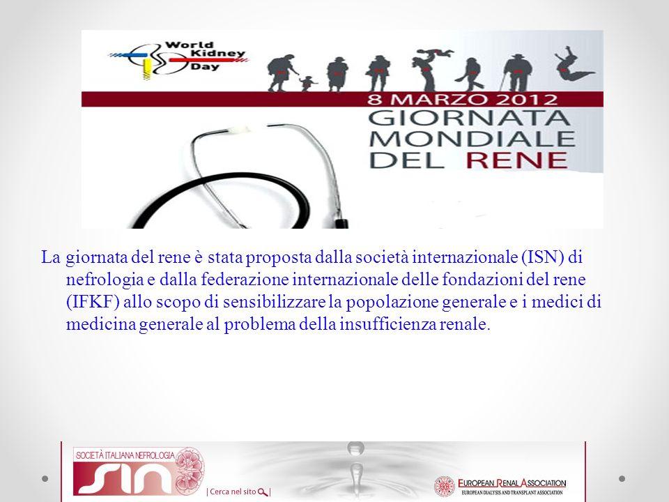 La giornata del rene è stata proposta dalla società internazionale (ISN) di nefrologia e dalla federazione internazionale delle fondazioni del rene (I