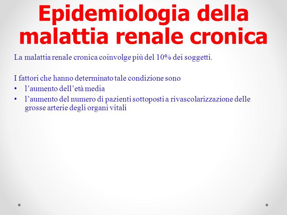 La malattia renale cronica coinvolge più del 10% dei soggetti. I fattori che hanno determinato tale condizione sono laumento delletà media laumento de