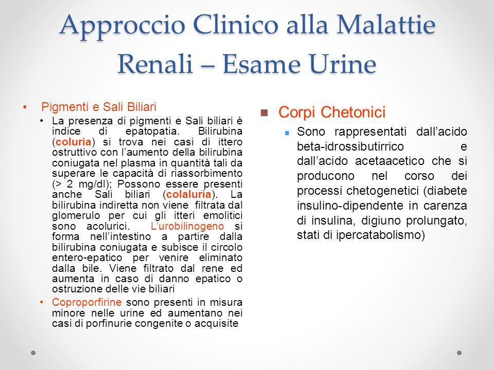 Approccio Clinico alla Malattie Renali – Esame Urine Corpi Chetonici Sono rappresentati dallacido beta-idrossibutirrico e dallacido acetaacetico che s