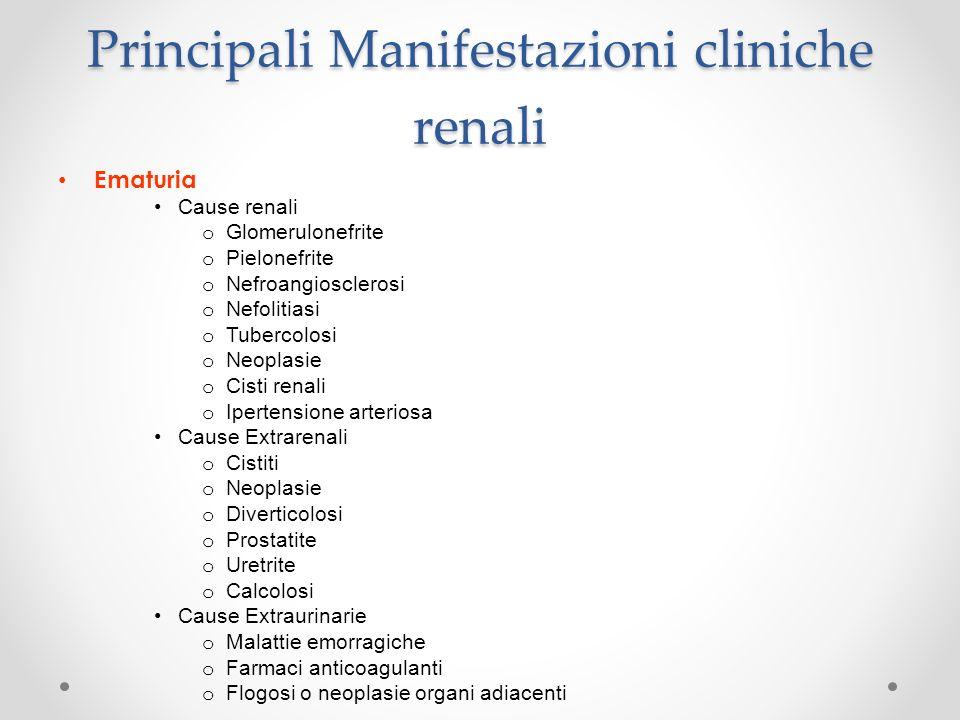 Principali Manifestazioni cliniche renali Ematuria Cause renali o Glomerulonefrite o Pielonefrite o Nefroangiosclerosi o Nefolitiasi o Tubercolosi o N