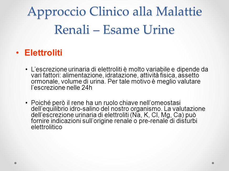 Approccio Clinico alla Malattie Renali – Esame Urine Elettroliti Lescrezione urinaria di elettroliti è molto variabile e dipende da vari fattori: alim