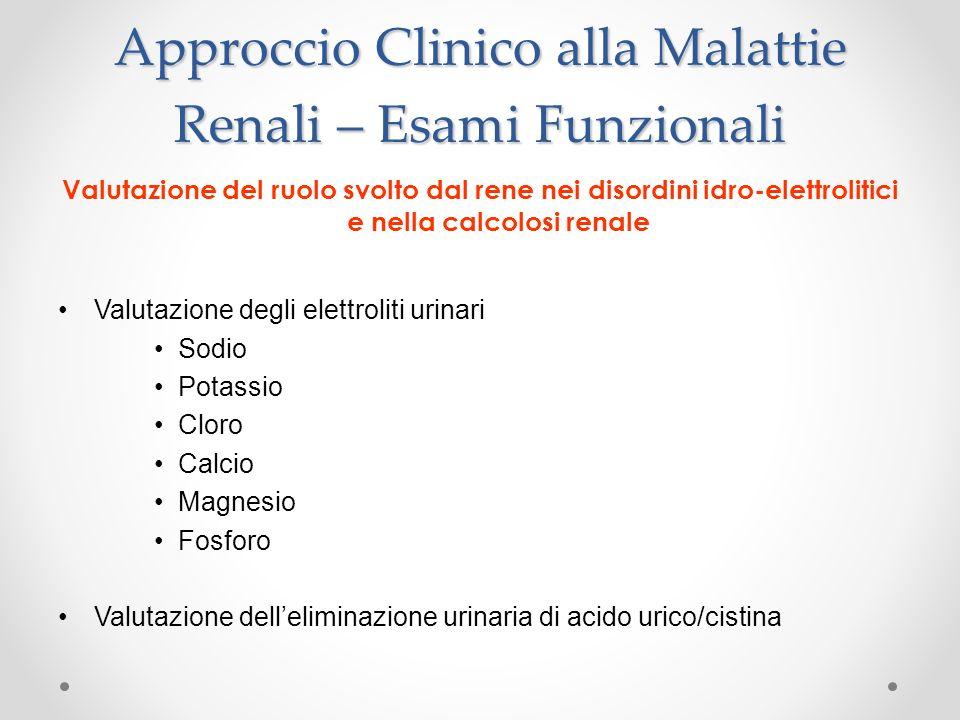 Approccio Clinico alla Malattie Renali – Esami Funzionali Valutazione del ruolo svolto dal rene nei disordini idro-elettrolitici e nella calcolosi ren