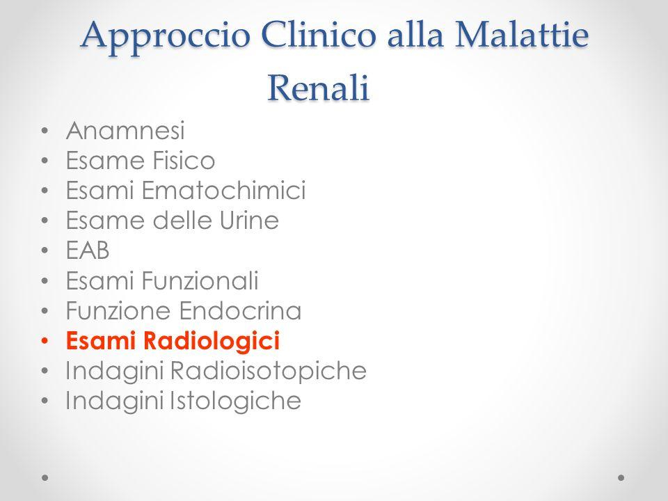 Approccio Clinico alla Malattie Renali Anamnesi Esame Fisico Esami Ematochimici Esame delle Urine EAB Esami Funzionali Funzione Endocrina Esami Radiol