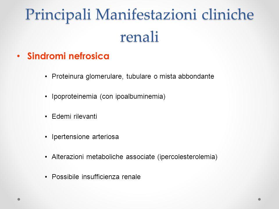 Principali Manifestazioni cliniche renali Sindromi nefrosica Proteinura glomerulare, tubulare o mista abbondante Ipoproteinemia (con ipoalbuminemia) E