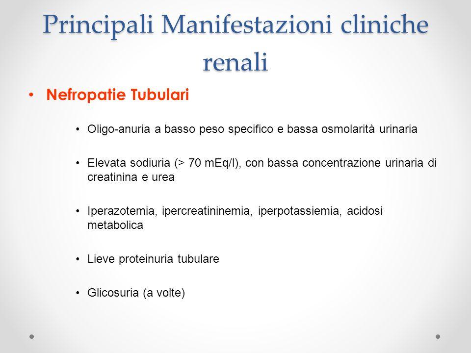 Principali Manifestazioni cliniche renali Nefropatie Tubulari Oligo-anuria a basso peso specifico e bassa osmolarità urinaria Elevata sodiuria (> 70 m