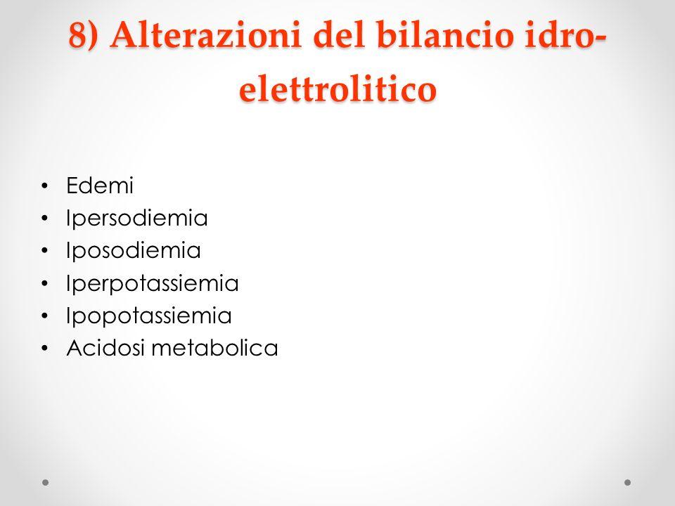 8) Alterazioni del bilancio idro- elettrolitico Edemi Ipersodiemia Iposodiemia Iperpotassiemia Ipopotassiemia Acidosi metabolica