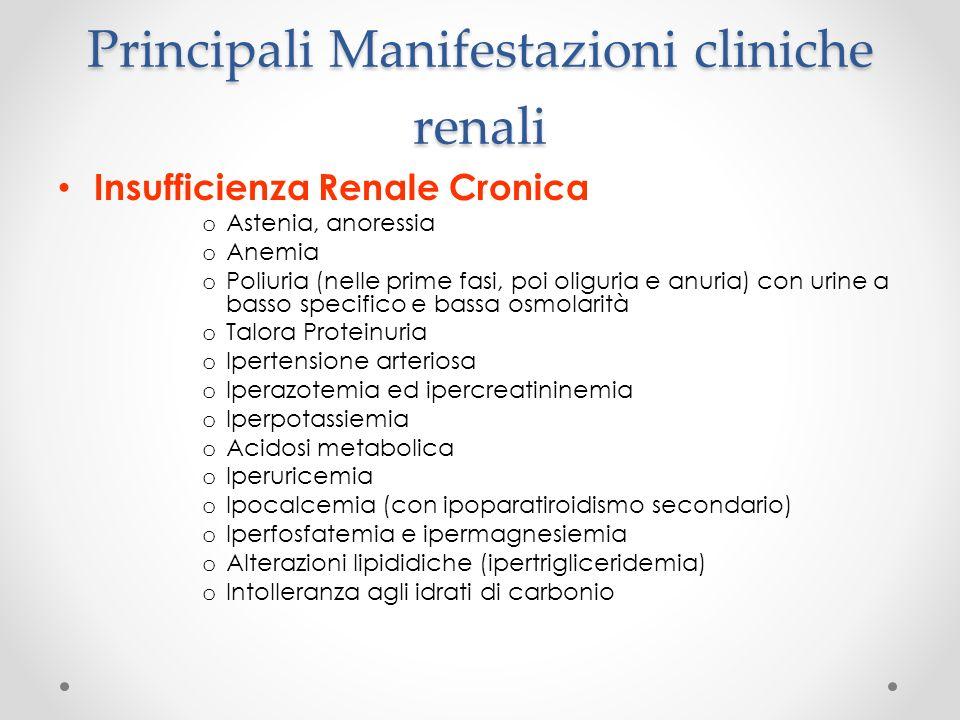 Principali Manifestazioni cliniche renali Insufficienza Renale Cronica o Astenia, anoressia o Anemia o Poliuria (nelle prime fasi, poi oliguria e anur