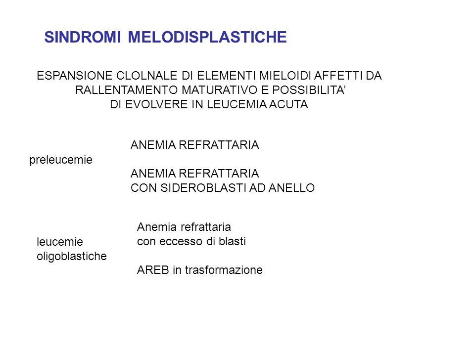 SINDROMI MELODISPLASTICHE preleucemie leucemie oligoblastiche ANEMIA REFRATTARIA CON SIDEROBLASTI AD ANELLO Anemia refrattaria con eccesso di blasti A