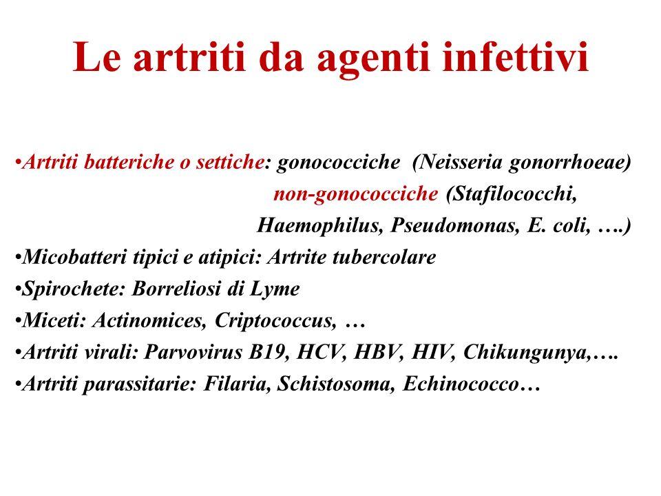 Le artriti da agenti infettivi Artriti batteriche o settiche: gonococciche (Neisseria gonorrhoeae) non-gonococciche (Stafilococchi, Haemophilus, Pseud