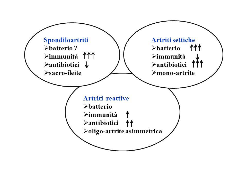 Sps Spondiloartriti batterio ? immunità antibiotici sacro-ileite Artriti settiche batterio immunità antibiotici mono-artrite Artriti reattive batterio
