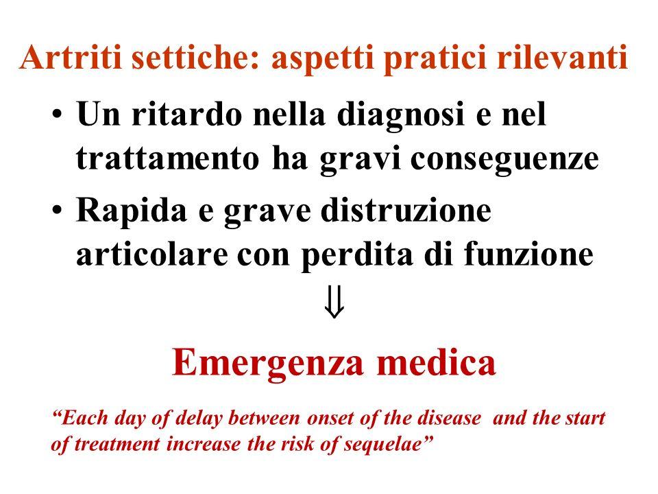 Artriti settiche: aspetti pratici rilevanti Un ritardo nella diagnosi e nel trattamento ha gravi conseguenze Rapida e grave distruzione articolare con