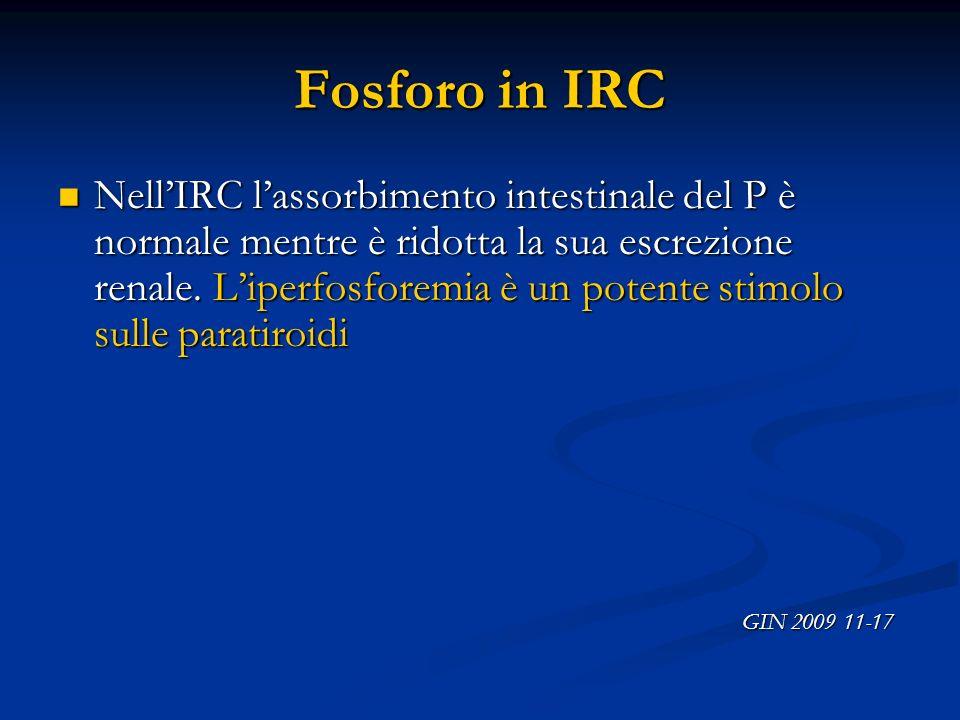Fosforo in IRC NellIRC lassorbimento intestinale del P è normale mentre è ridotta la sua escrezione renale. Liperfosforemia è un potente stimolo sulle