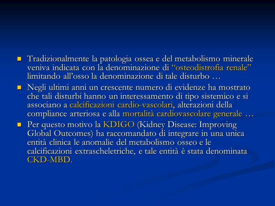 Tradizionalmente la patologia ossea e del metabolismo minerale veniva indicata con la denominazione di osteodistrofia renale limitando allosso la deno