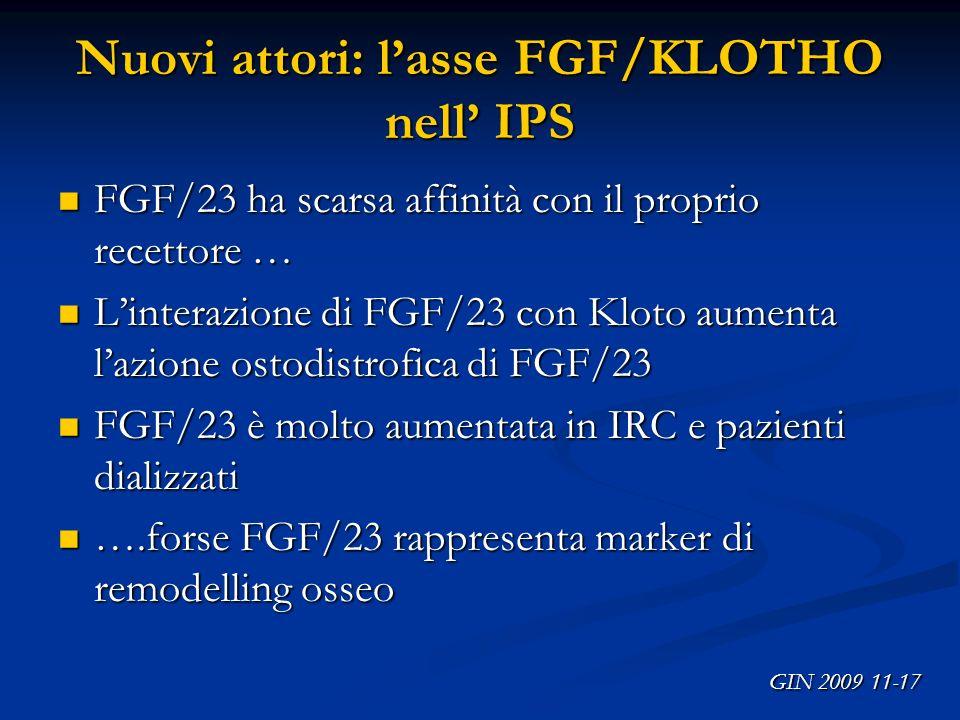 Nuovi attori: lasse FGF/KLOTHO nell IPS FGF/23 ha scarsa affinità con il proprio recettore … FGF/23 ha scarsa affinità con il proprio recettore … Lint