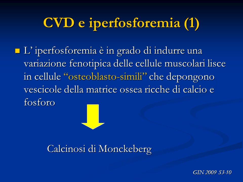 CVD e iperfosforemia (1) L iperfosforemia è in grado di indurre una variazione fenotipica delle cellule muscolari lisce in cellule osteoblasto-simili
