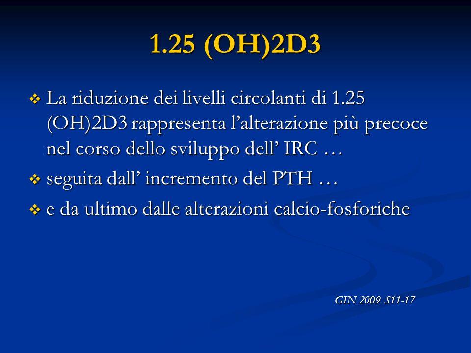 1.25 (OH)2D3 La riduzione dei livelli circolanti di 1.25 (OH)2D3 rappresenta lalterazione più precoce nel corso dello sviluppo dell IRC … La riduzione