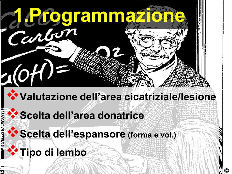 1.Programmazione Valutazione dellarea cicatriziale/lesione Scelta dellarea donatrice Scelta dellespansore (forma e vol.) Tipo di lembo