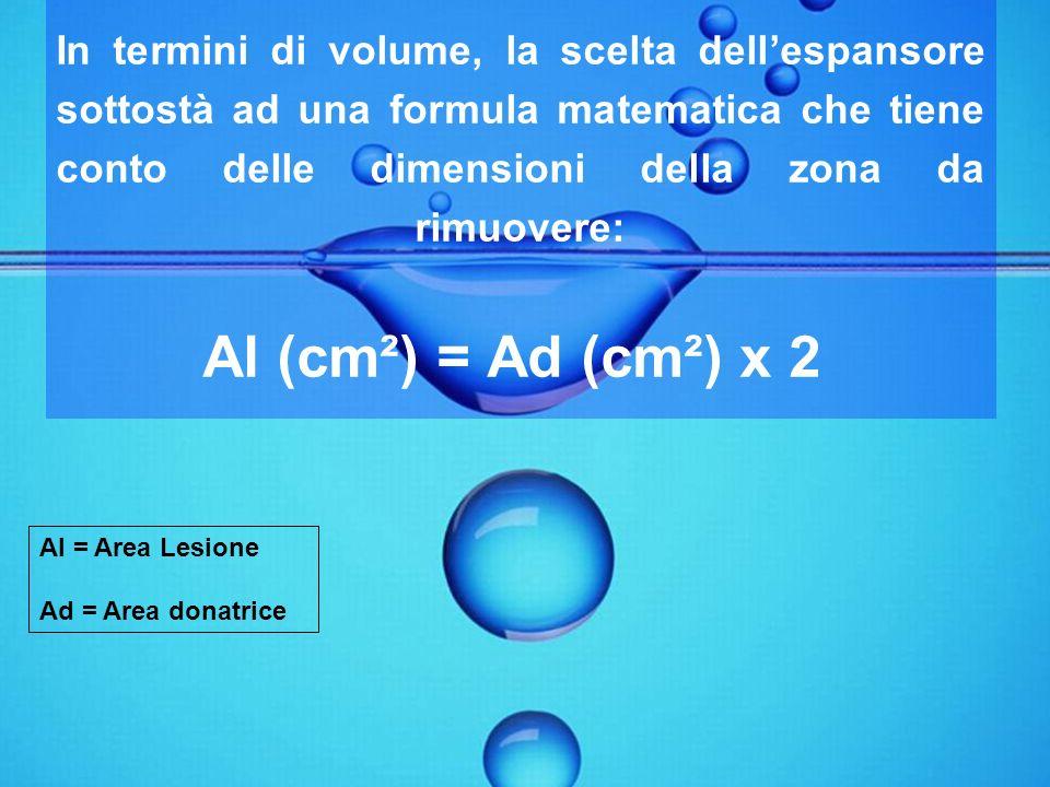 In termini di volume, la scelta dellespansore sottostà ad una formula matematica che tiene conto delle dimensioni della zona da rimuovere: Al (cm²) =