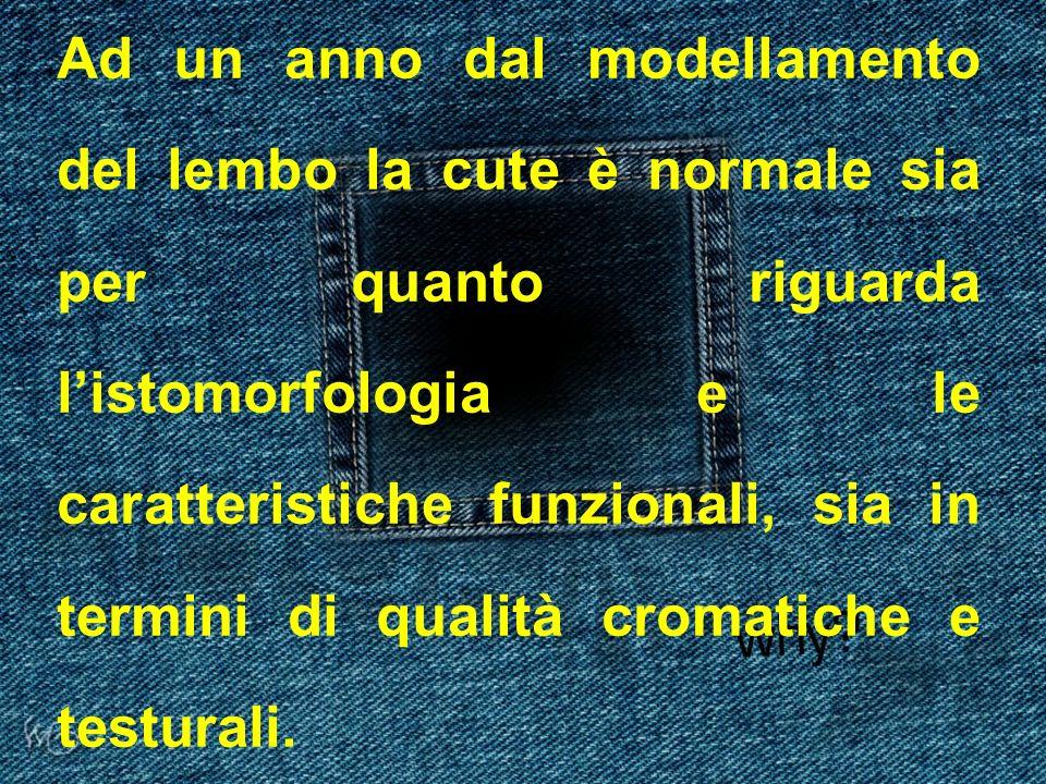 Ad un anno dal modellamento del lembo la cute è normale sia per quanto riguarda listomorfologia e le caratteristiche funzionali, sia in termini di qua