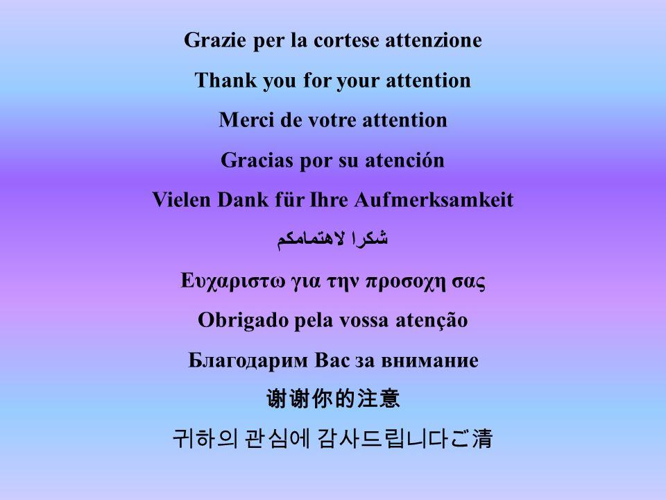 Grazie per la cortese attenzione Thank you for your attention Merci de votre attention Gracias por su atención Vielen Dank für Ihre Aufmerksamkeit شكر