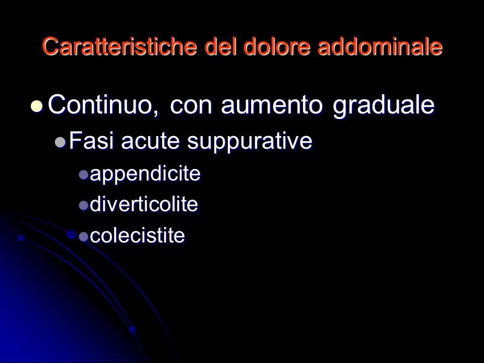 Caratteristiche del dolore addominale Continuo, con aumento graduale Continuo, con aumento graduale Fasi acute suppurative Fasi acute suppurative appe