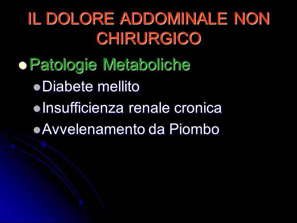 IL DOLORE ADDOMINALE NON CHIRURGICO Patologie Metaboliche Patologie Metaboliche Diabete mellito Diabete mellito Insufficienza renale cronica Insuffici