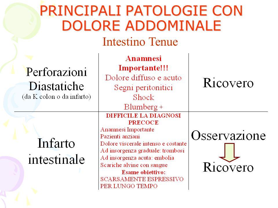 PRINCIPALI PATOLOGIE CON DOLORE ADDOMINALE Intestino Tenue