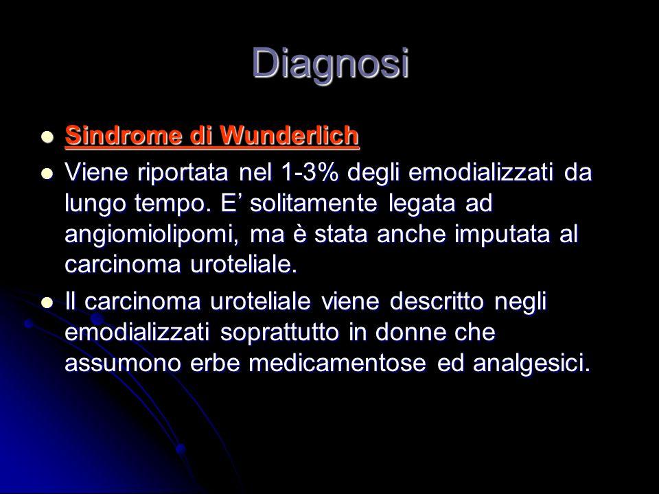 Diagnosi Sindrome di Wunderlich Sindrome di Wunderlich Viene riportata nel 1-3% degli emodializzati da lungo tempo. E solitamente legata ad angiomioli