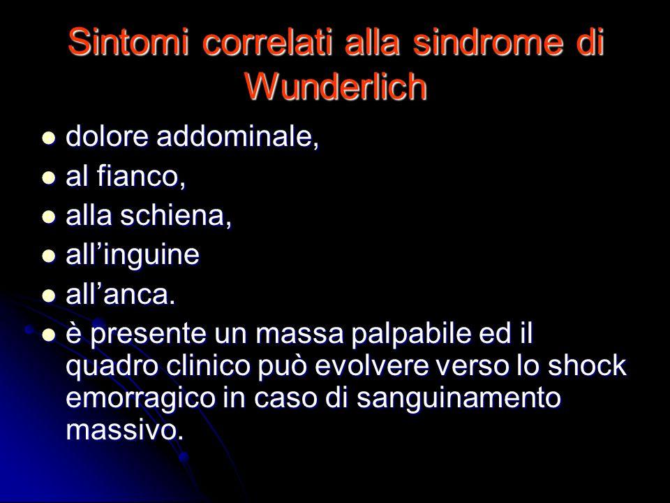 Sintomi correlati alla sindrome di Wunderlich dolore addominale, dolore addominale, al fianco, al fianco, alla schiena, alla schiena, allinguine allin