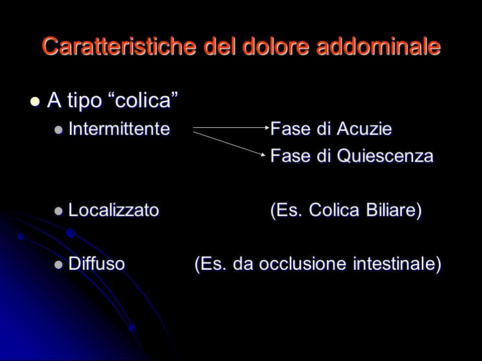 Caratteristiche del dolore addominale A tipo colica A tipo colica IntermittenteFase di Acuzie IntermittenteFase di Acuzie Fase di Quiescenza Localizza
