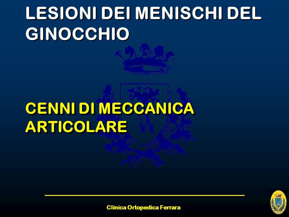 Clinica Ortopedica Ferrara LESIONI DEI MENISCHI DEL GINOCCHIO CENNI DI MECCANICA ARTICOLARE