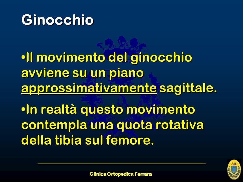 Clinica Ortopedica Ferrara Ginocchio Il movimento del ginocchio avviene su un piano approssimativamente sagittale. In realtà questo movimento contempl