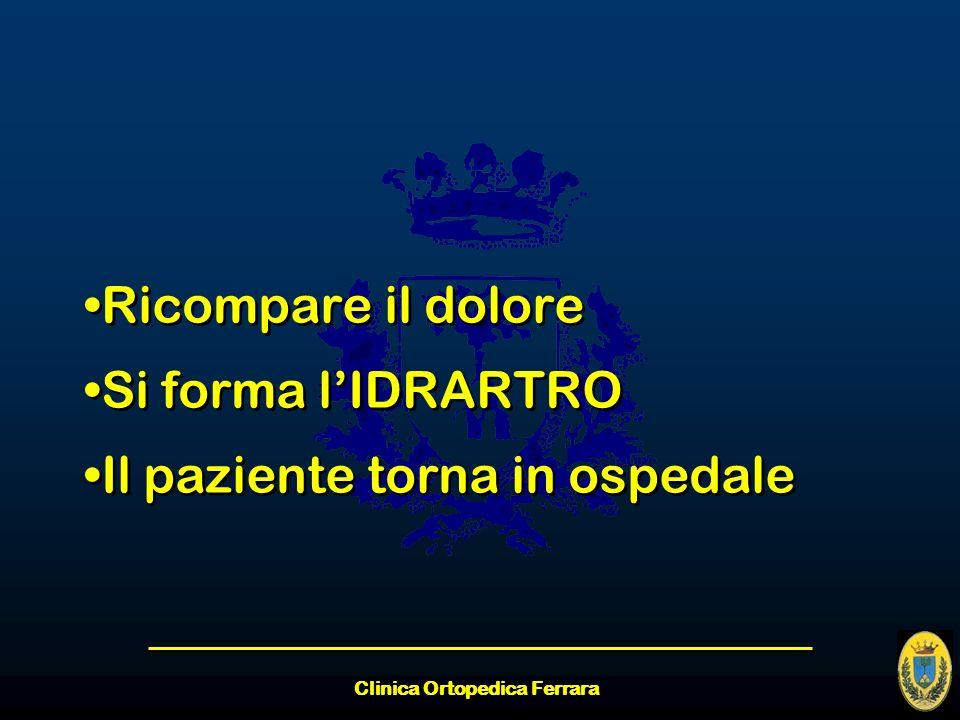Clinica Ortopedica Ferrara Ricompare il dolore Si forma lIDRARTRO Il paziente torna in ospedale Ricompare il dolore Si forma lIDRARTRO Il paziente tor