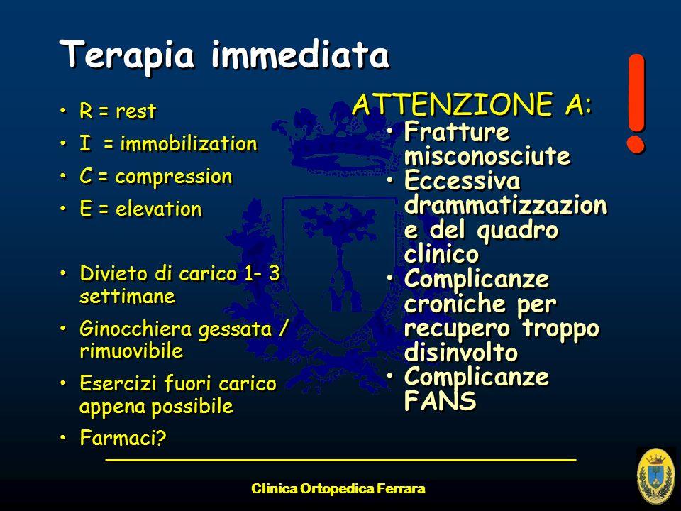 Terapia immediata R = rest I = immobilization C = compression E = elevation Divieto di carico 1- 3 settimane Ginocchiera gessata / rimuovibile Eserciz