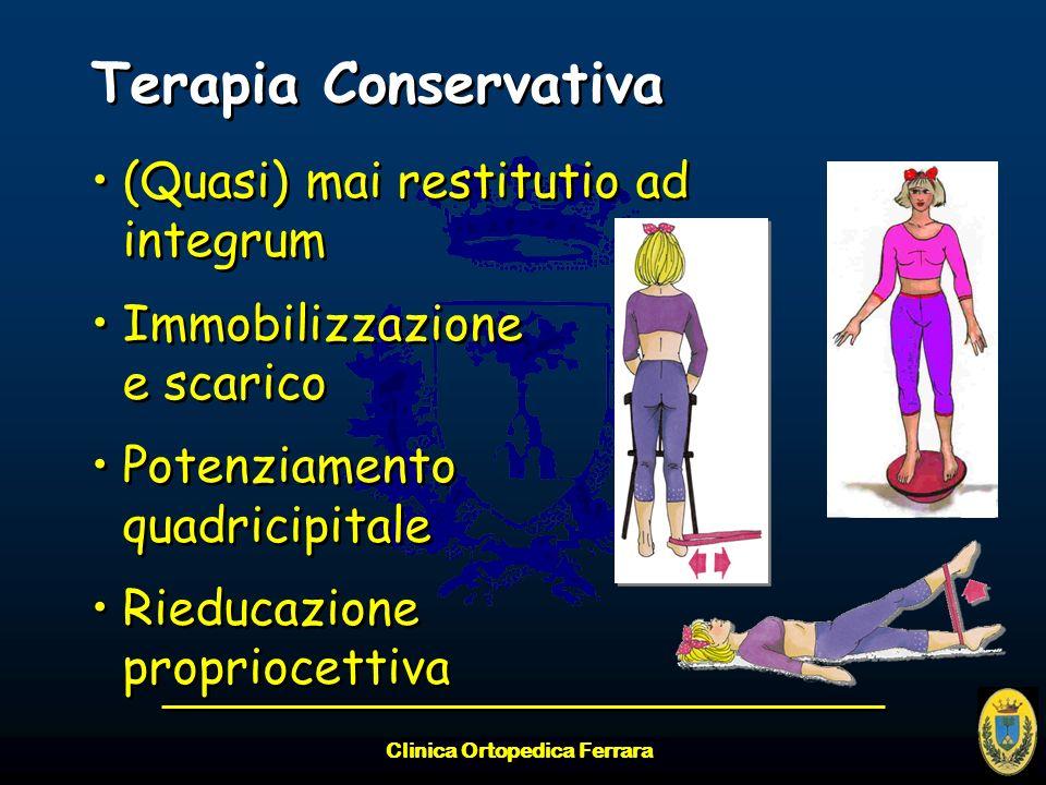 Clinica Ortopedica Ferrara Terapia Conservativa (Quasi) mai restitutio ad integrum Immobilizzazione e scarico Potenziamento quadricipitale Rieducazion