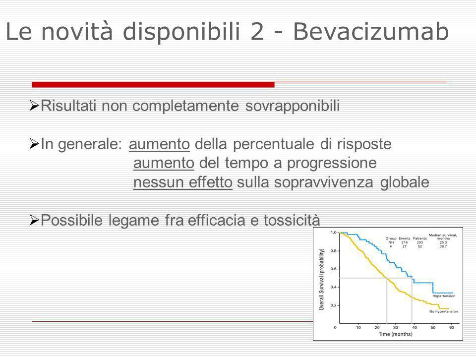 Risultati non completamente sovrapponibili In generale: aumento della percentuale di risposte aumento del tempo a progressione nessun effetto sulla so