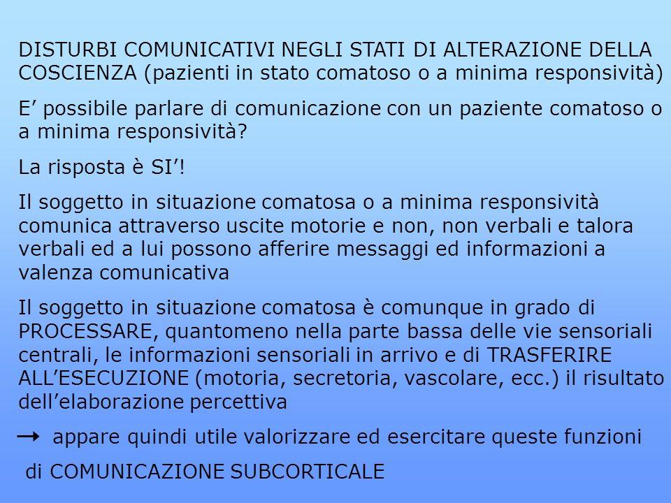 DISTURBI COMUNICATIVI NEGLI STATI DI ALTERAZIONE DELLA COSCIENZA (pazienti in stato comatoso o a minima responsività) E possibile parlare di comunicaz
