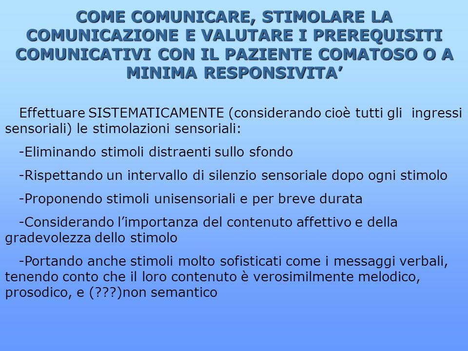 COME COMUNICARE, STIMOLARE LA COMUNICAZIONE E VALUTARE I PREREQUISITI COMUNICATIVI CON IL PAZIENTE COMATOSO O A MINIMA RESPONSIVITA Effettuare SISTEMA
