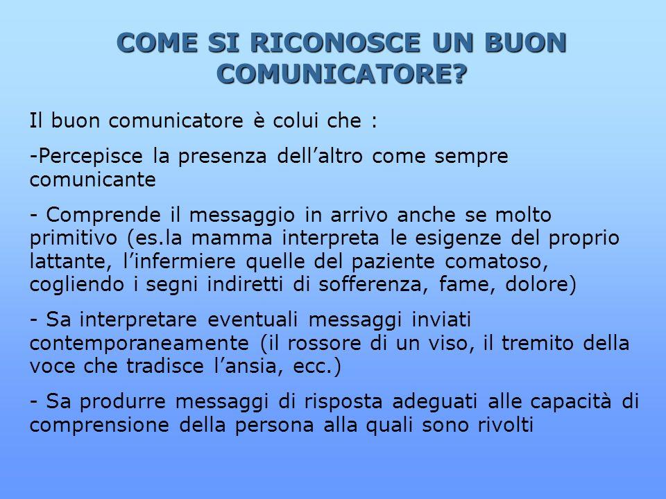 COME SI RICONOSCE UN BUON COMUNICATORE? Il buon comunicatore è colui che : -Percepisce la presenza dellaltro come sempre comunicante - Comprende il me