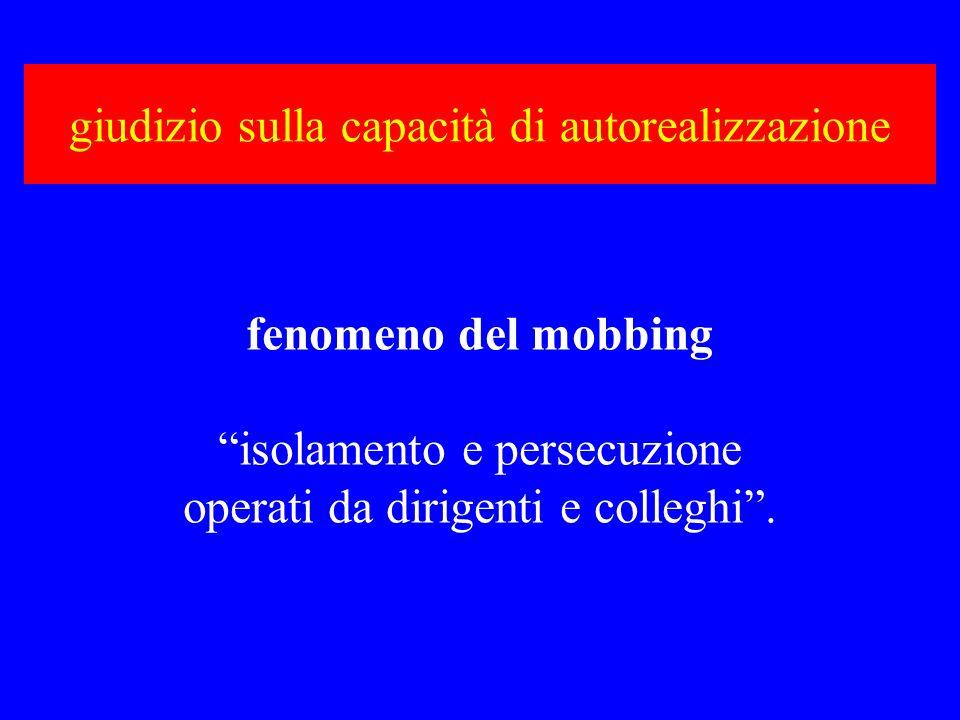 giudizio sulla capacità di autorealizzazione fenomeno del mobbing isolamento e persecuzione operati da dirigenti e colleghi.